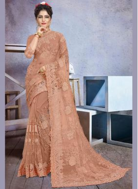 Brown Embroidered Net Classic Designer Saree