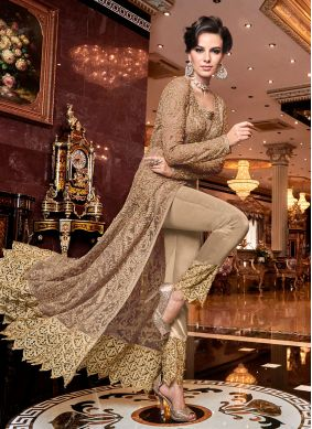 Brown Embroidered Net Pant Style Suit