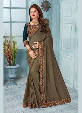 Brown Embroidered Silk Classic Saree