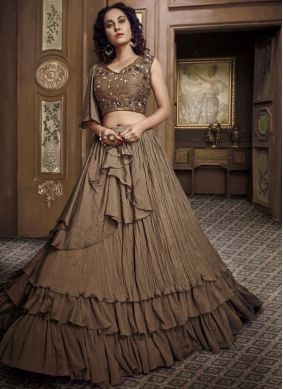 Brown Fancy Fabric Embroidered Designer Lehenga Choli
