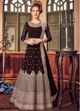 Brown Fancy Fabric Floor Length Anarkali Suit