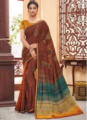 Brown Fancy Fabric Party Classic Saree