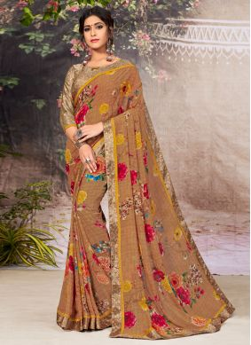 Brown Faux Georgette Casual Saree