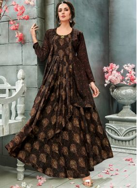 Brown Faux Georgette Print Readymade Gown