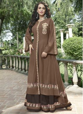 Brown Festival Fancy Fabric Designer Gown