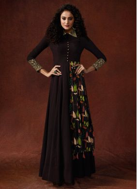 Brown Festival Faux Georgette Designer Gown