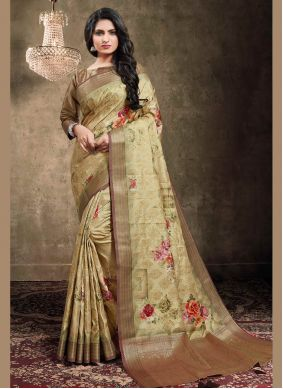 Brown Georgette Digital Print Classic Designer Saree