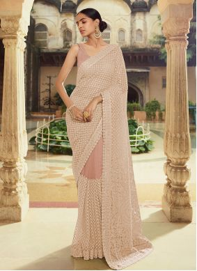 Brown Georgette Engagement Classic Saree
