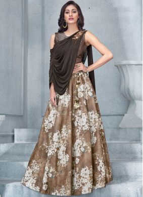 Brown Handwork Lycra Lehenga Choli