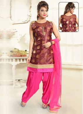 Brown Mehndi Brocade Punjabi Suit