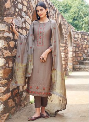 Brown Muslin Ceremonial Trendy Salwar Suit