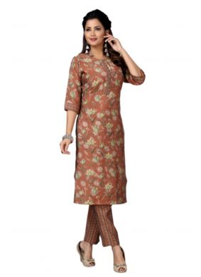 Brown Muslin Festival Casual Kurti