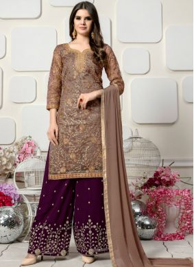 Brown Organza Embroidered Designer Palazzo Salwar Kameez