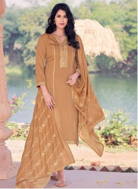Brown Pakistani Straight Salwar Kameez