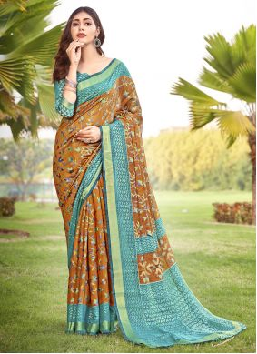 Brown Party Brasso Bollywood Saree
