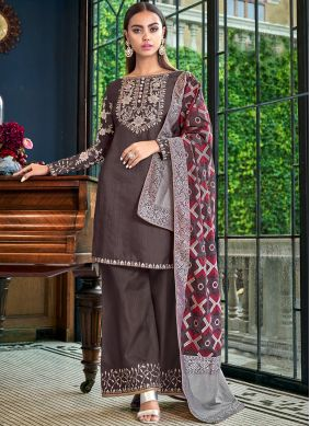 Brown Party Satin Silk Palazzo Designer Salwar Suit