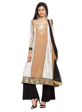 Brown Patchwork Faux Georgette Readymade Salwar Kameez