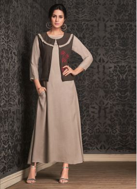 Brown Rayon Embroidered Party Wear Kurti