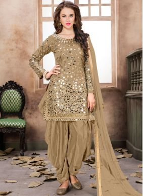 Brown Reception Tafeta Silk Designer Patiala Salwar Kameez