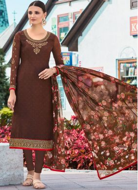 Brown Resham Churidar Designer Suit