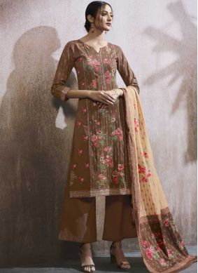 Brown Resham Party Designer Palazzo Suit