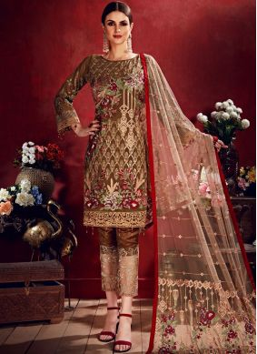 Brown Sangeet Georgette Salwar Suit