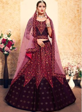Brown Satin Thread Trendy Lehenga Choli