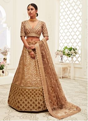 Brown Silk Designer Lehenga Choli