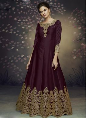 Brown Thread Reception Salwar Suit