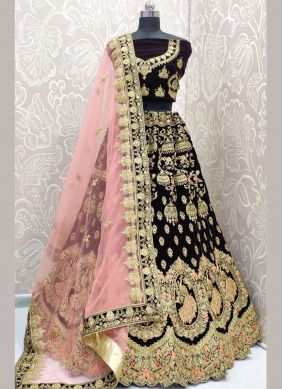 Brown Velvet Sangeet Lehenga Choli