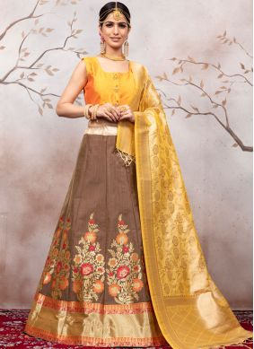 Brown Weaving Designer Lehenga Choli
