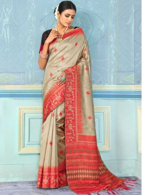 Brown Weaving Designer Traditional Saree