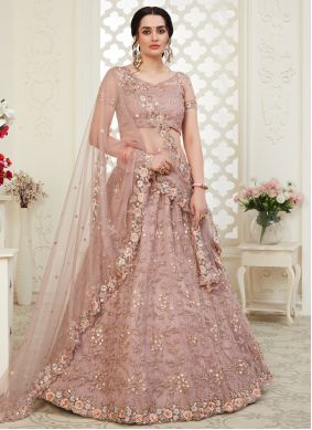 Brown Wedding Banglori Silk A Line Lehenga Choli