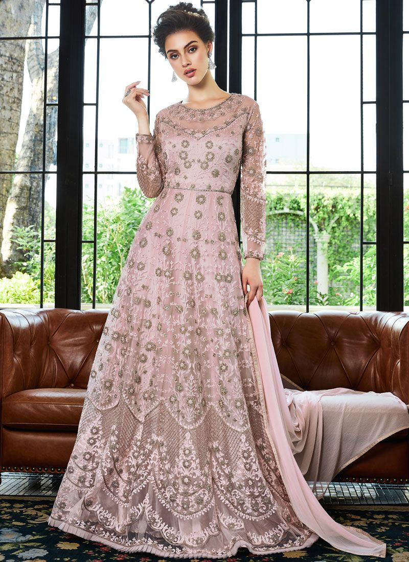 Capricious Embroidered Pink Net Anarkali Salwar Suit