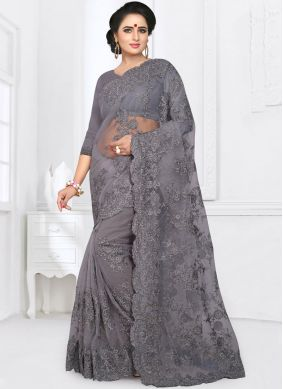 Capricious Net Grey Embroidered Classic Saree