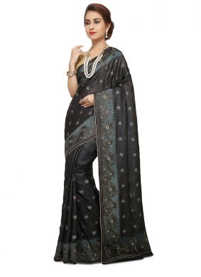 Captivating Art Banarasi Silk Weaving Black Designer Traditional Saree