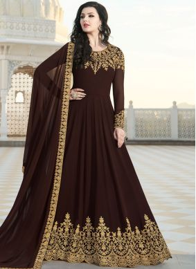 Captivating Brown Faux Georgette Floor Length Anarkali Suit
