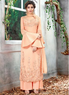 Captivating Peach Wedding Designer Salwar Kameez