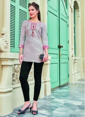 Casual Kurti Embroidered Cotton in Grey