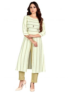 Casual Kurti Embroidered Khadi in Cream