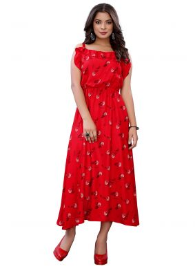 Red Casual Kurti For Festival