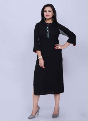 Casual Kurti Plain Cotton in Black
