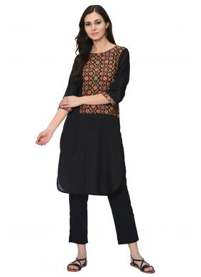 Casual Kurti Print Poly Silk in Black