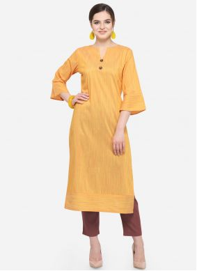 Casual Kurti Printed Cotton in Mustard