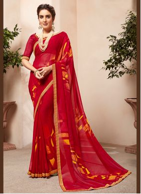 Casual Saree Abstract Print Faux Georgette in Red