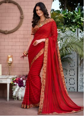 Casual Saree Abstract Print Weight Less in Red