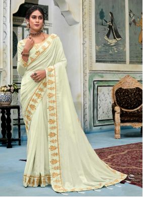Casual Saree Embroidered Silk in Off White