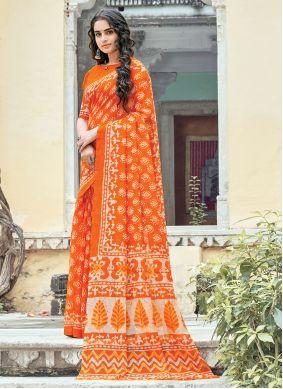 Orange Printed Work Cotton Saree For Casual