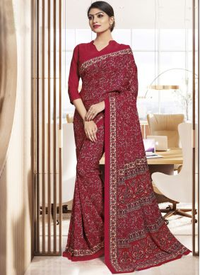 Casual Saree Printed Polly Cotton in Maroon