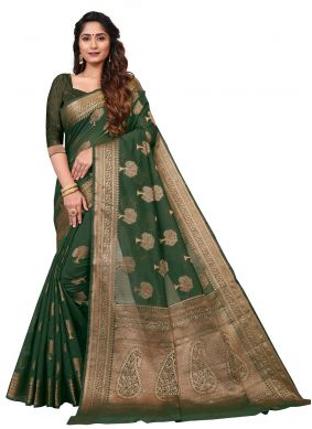 Casual Saree Weaving Cotton in Green
